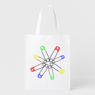 Safety Pin Red Yellow Blue Rainbow Solidarity Market Totes