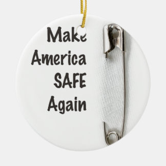 Safety Pin Round Ceramic Ornament