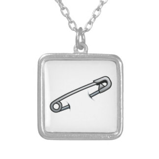 Safety pin solidarity silver plated necklace