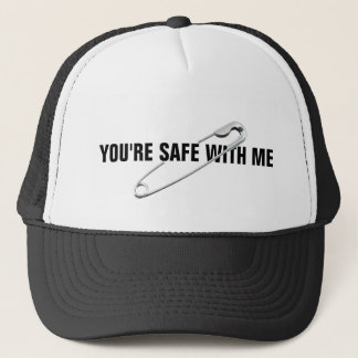 "Safety Pin ""You're Safe With Me"" Anti-Abuse Trucker Hat"