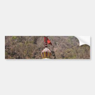 Saffron Flag at top of Hindu temple Bumper Sticker