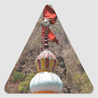 Saffron Flag at top of Hindu temple Triangle Stickers