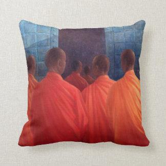 Saffron Monks Throw Pillow
