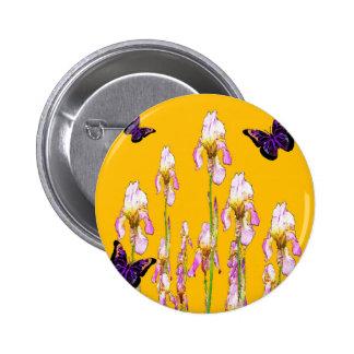 Saffron Pink Iris Black Butterflies by sharles 2 Inch Round Button