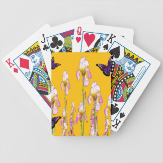Saffron Pink Iris Black Butterflies by sharles Bicycle Playing Cards