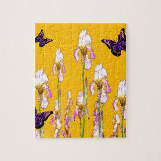 Saffron Pink Iris Black Butterflies by sharles Puzzles