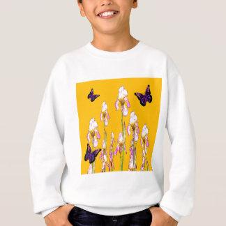 Saffron Pink Iris Black Butterflies by sharles Sweatshirt