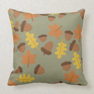 Sage Acorns Throw Pillow