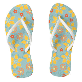 Sage and Gold Retro Floral Flip Flops