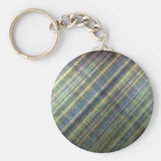 Sage and Lavender Stripes Basic Round Button Keychain