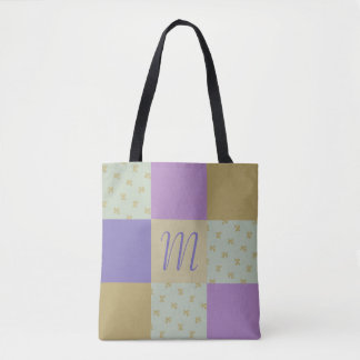 Sage and Plum Berry Patchwork Monogram Tote Bag