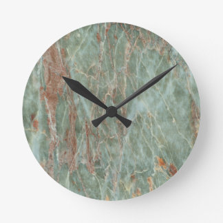 Sage and Rust Marble Round Clock