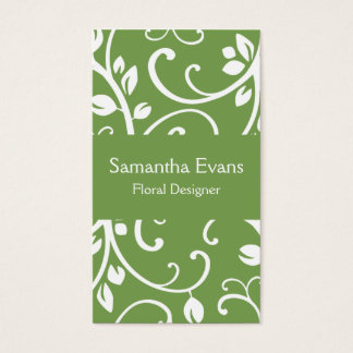 Sage and White Floral Vine Business Card