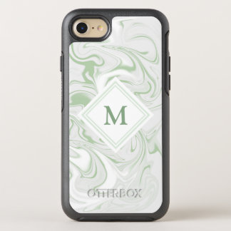 Sage and White Marble look with Diamond Monogram OtterBox Symmetry iPhone 8/7 Case