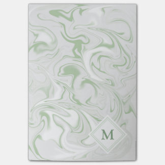 Sage and White Marble look with Diamond Monogram Post-it® Notes