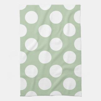 Sage and White Polka Dot Kitchen Towel