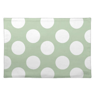 Sage and White Polka Dot Placemat