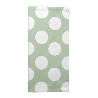 Sage and White Polka Dot Print Cloth Napkins
