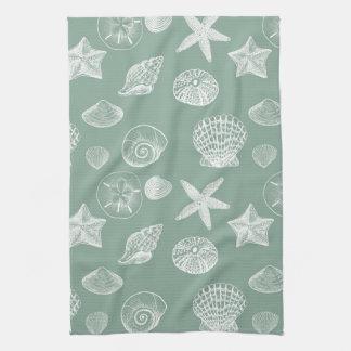 Sage and White Sea Shells Kitchen Towel