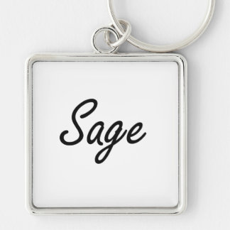 Sage Artistic Job Design Silver-Colored Square Keychain
