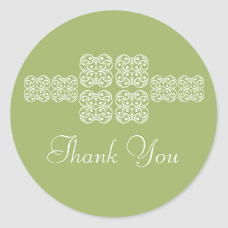 Sage Bohemian Chic Thank You Stickers