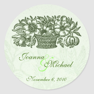 Sage Classic Flower Basket Wedding Sticker