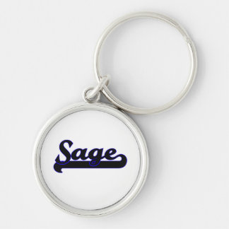 Sage Classic Job Design Silver-Colored Round Keychain