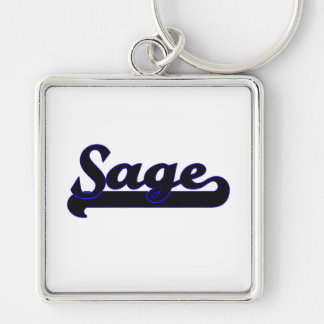 Sage Classic Job Design Silver-Colored Square Keychain