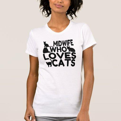 Sage-femme qui aime des chats t-shirts