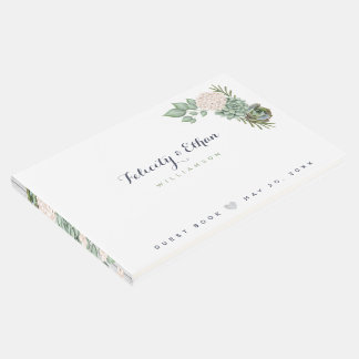 Sage Floral Flowers White Wood Wedding Guest Book