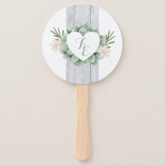 Sage Floral Flowers White Wood Wedding Hand Fan