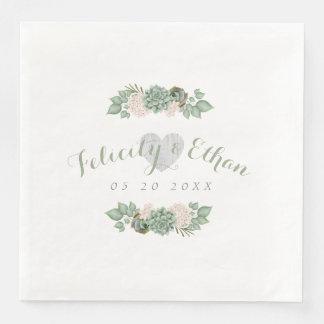 Sage Floral & White Rustic Wood Wedding Napkin