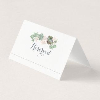 Sage Floral & White Wood Wedding Name Place Card