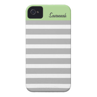 Sage, Gray Stripes Personalized iPhone 4/4s iPhone 4 Cover