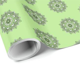 Sage Green and Black Mandala Pretty Gift Wrap