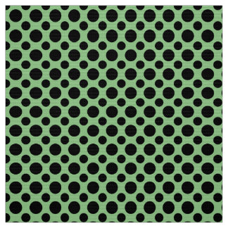Sage Green and Black Polka Dots Fabric