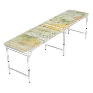Sage Green and Coral Rustic Fake Wood Floral Table