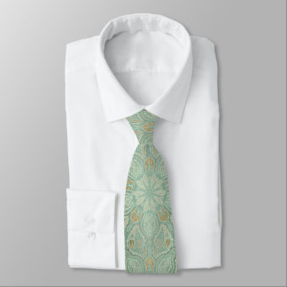 Sage Green and Gold Classic Mandala Tie