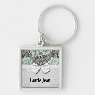 sage green and grey foliage art nouveau floral Silver-Colored square keychain