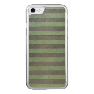 Sage Green and Grey Stripes Pattern Carved iPhone 8/7 Case