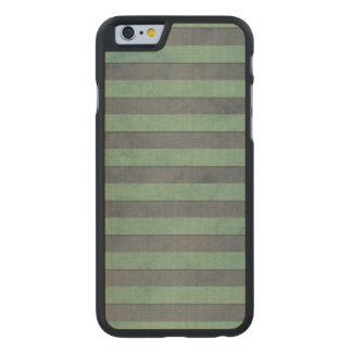 Sage Green and Grey Stripes Pattern Carved Maple iPhone 6 Case