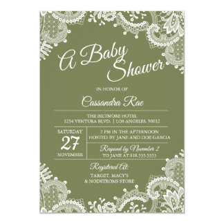 Sage Green and Lace Baby Shower Invitation
