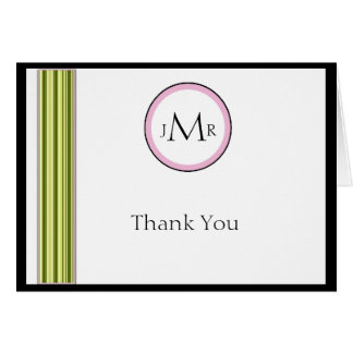 Sage Green and Pink Stripes Anniversary Thank You Note Card