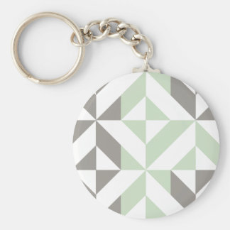 Sage Green and Silver Geometric Deco Cube Pattern Key Chains