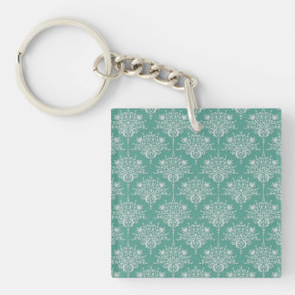 Sage Green and White Floral Damask Double-Sided Square Acrylic Keychain