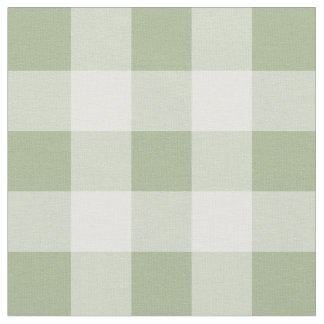 Sage Green and White Gingham Pattern Fabric