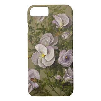 Sage Green and White, Vintage Floral Elegant iPhone 7 Case