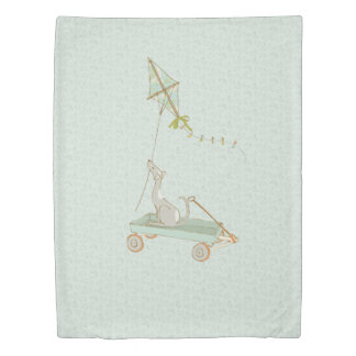 Sage Green Bedcover with Cute Shabby Chic Dog Duvet Cover