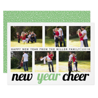 Sage, green black New Year Cheer six photo collage Card