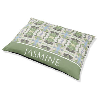 Sage Green & Blue Pastel Pattern Personalized Pet Bed